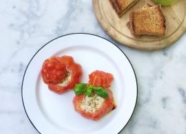 Gevulde tomaten (coeur de boeuf) op de BBQ made by ellen