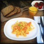 Scrambled eggs with salmon