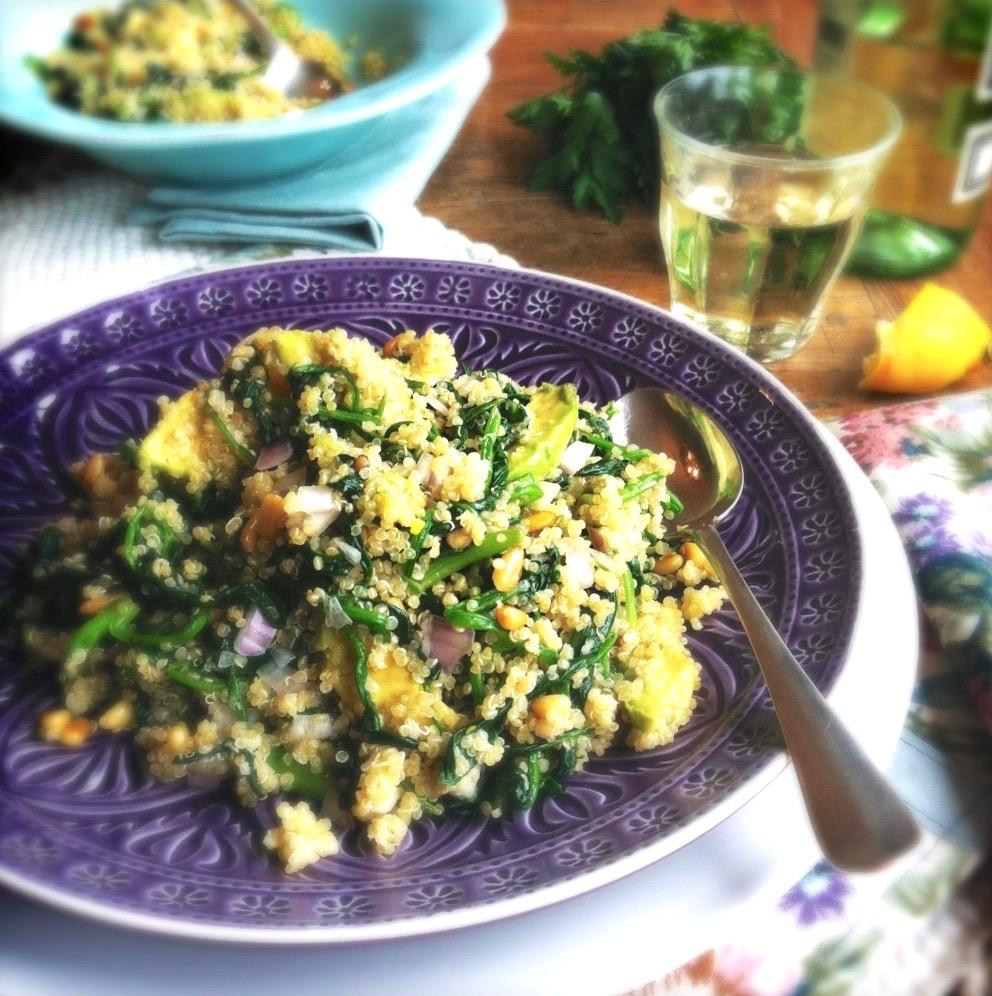 Quinoa met spinazie, avocado & pijnboompitjes, made by ellen