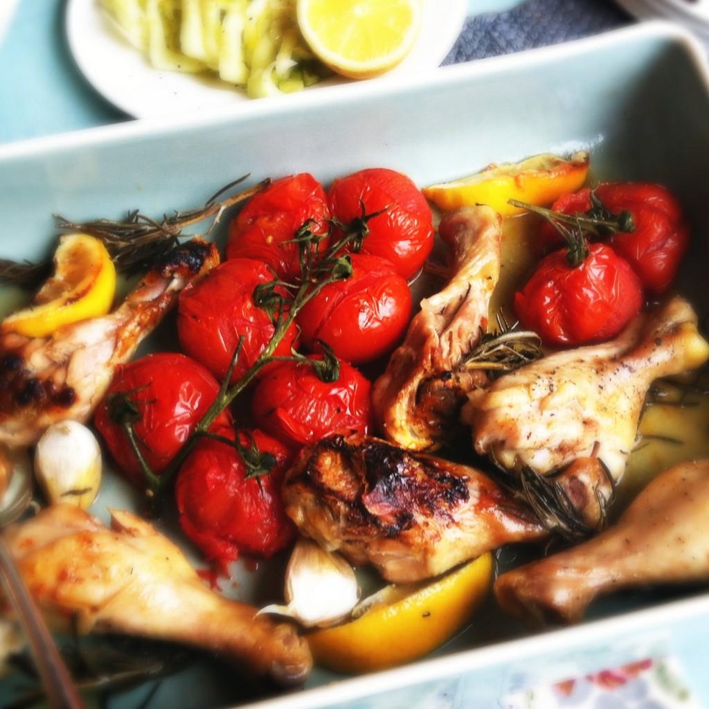 Made by Ellen drumsticks met tomaatjes, knoflook & citroen uit de oven
