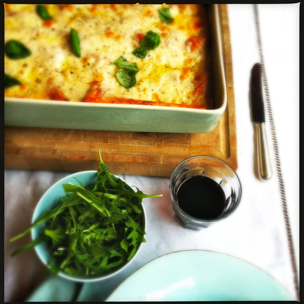 Aubergine lasagne ready to serve