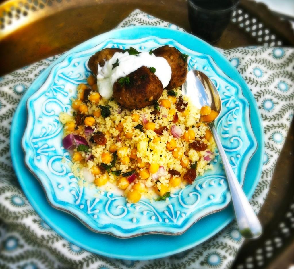 Couscoussalade met lams gehaktballetjes en yoghurtsuas Made by Ellen