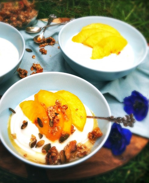 Honingmousse met vers fruit & granola Made by Ellen