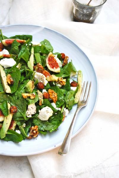 Spinazie salade met geitenkaas en verse vijgen made by ellen