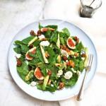Spinazie salade met geitenkaas & verse vijgen