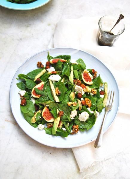 Spinazie salade met geitenkaas & verse vijgen made by ellen