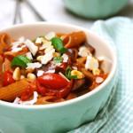 Pasta met aubergine-tomatensaus made by ellen