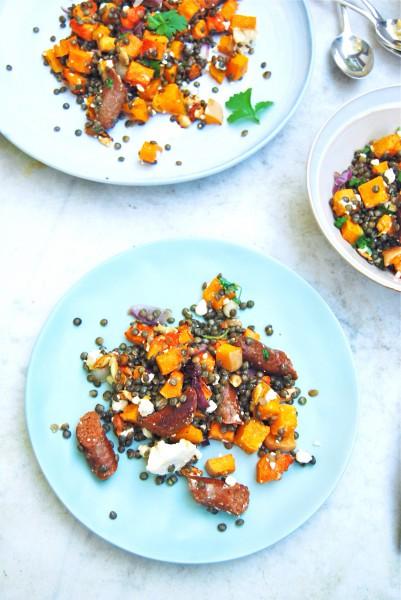Linzen salade met pompoen, feta & worstjes made by ellen