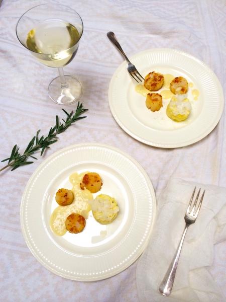 Coquilles recept met bloemkoolpuree en aardappelsaus made by ellen