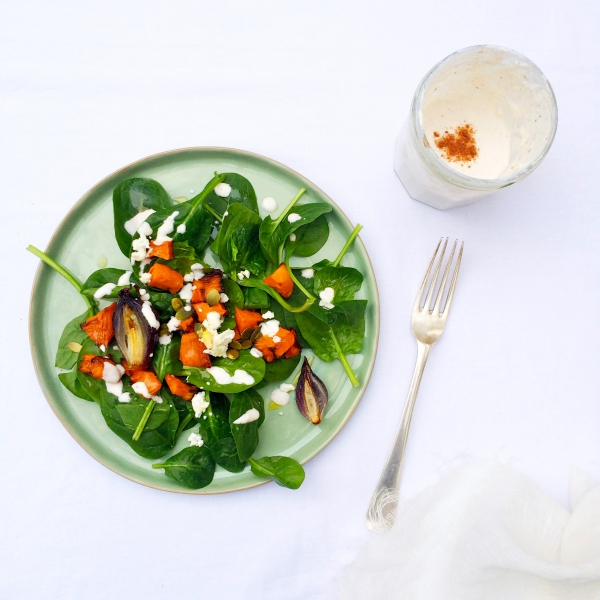 Salade met spinazie & geitenkaas dressing made by ellen