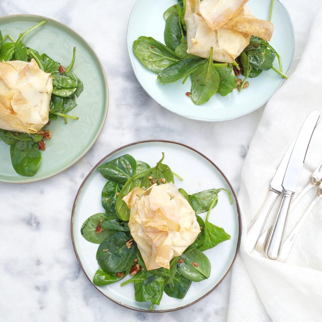 Geitenkaas salade met honing en filodeeg uit oven made by ellen