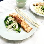Zalm recept - zalm bakken met spinazie en noodles made by ellen