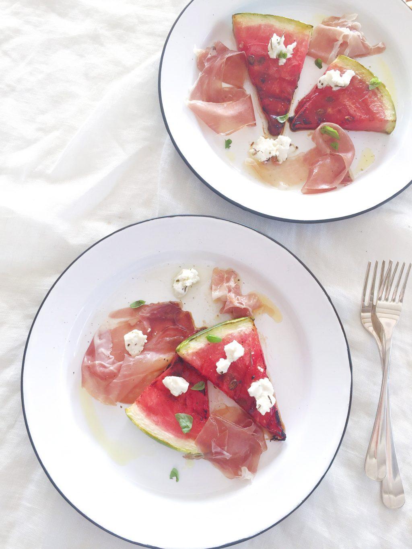 Gegrilde watermeloen salade met ham & geitenkaas made by ellen