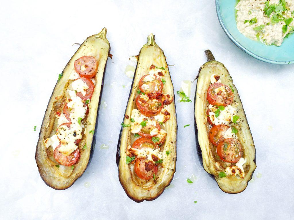 Gevulde aubergine met tomaat & feta kaas uit de oven made by ellen