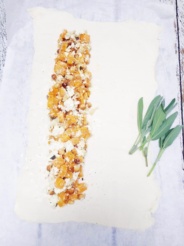 Pompoen bladerdeeg met geitenkaas & hazelnoot maken made by ellen