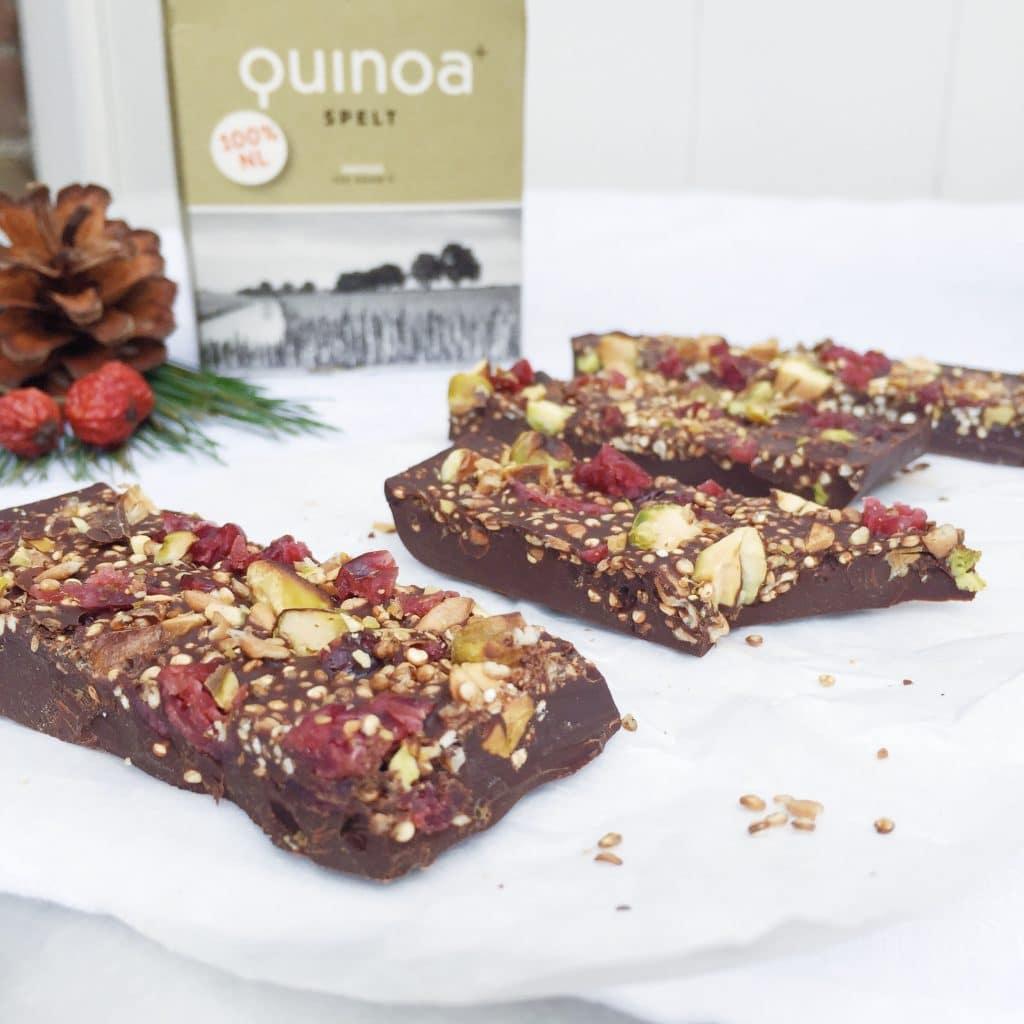 Chocoladereep maken met geroosterde quinoa made by ellen