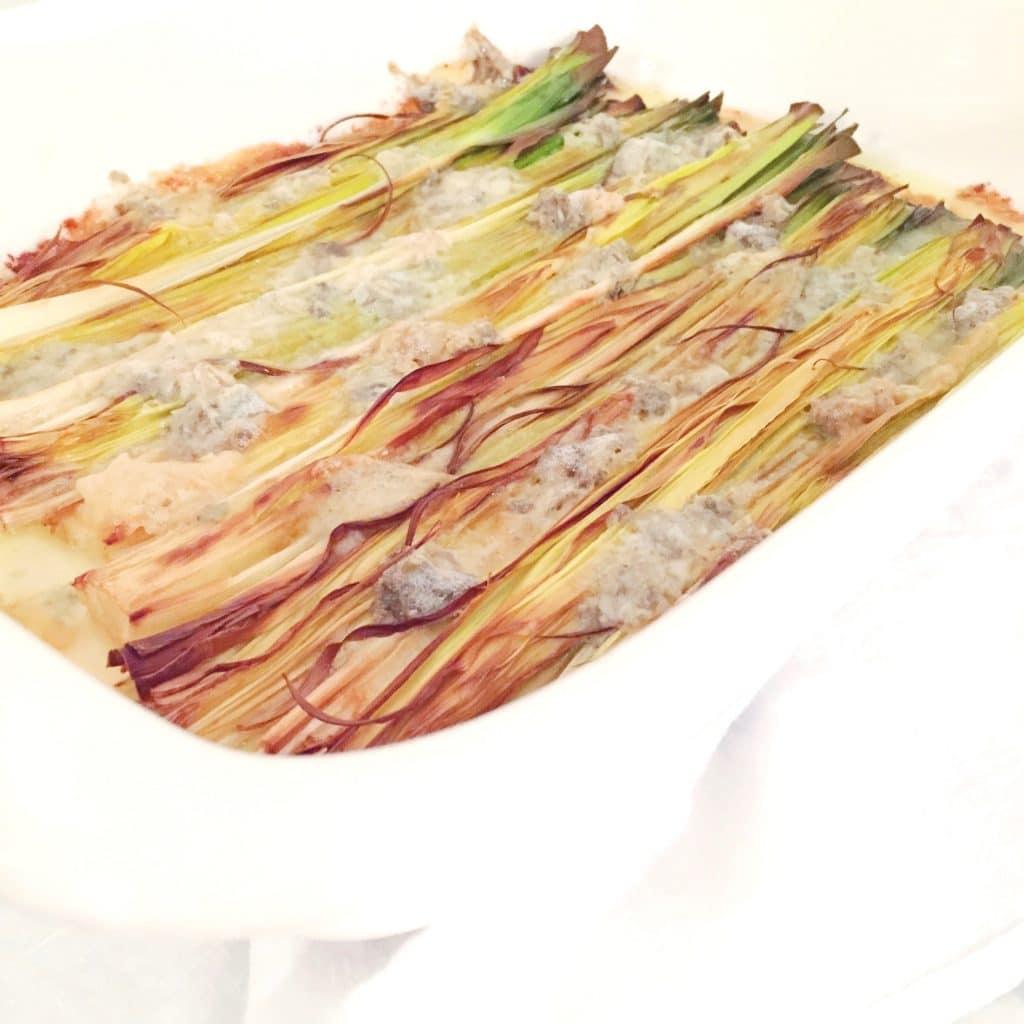 Recept prei met blauwe kaas uit de oven, made by ellen