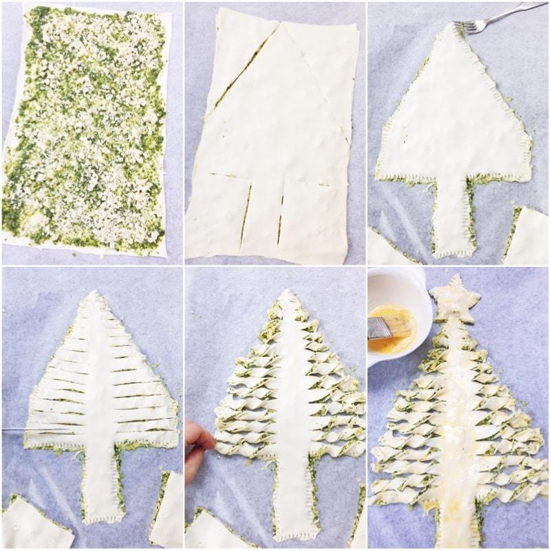 Kerstboom bladerdeeg pesto maken met smeuïge kaas