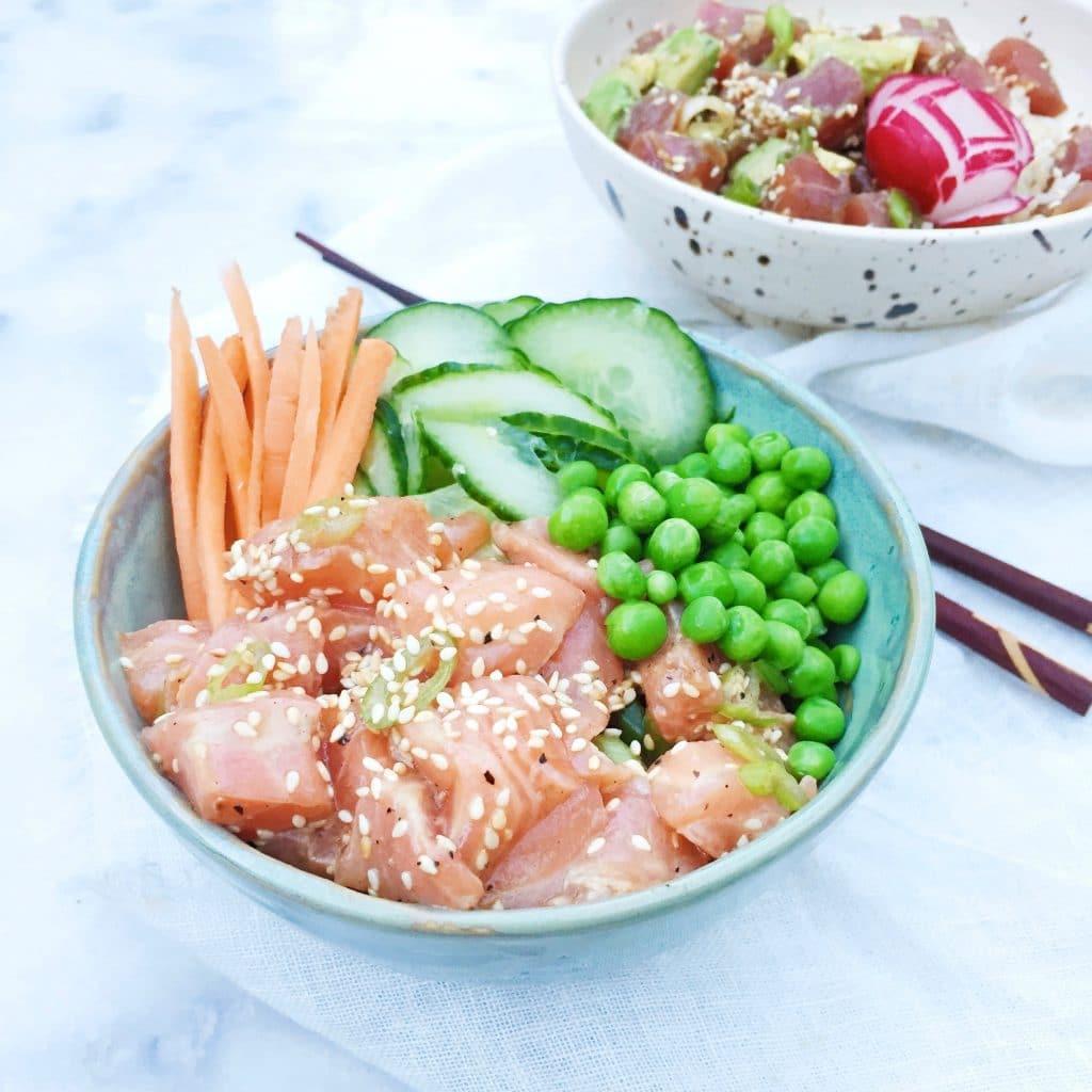 Poke bowl met zalm & ingelegde komkommer, made by ellen