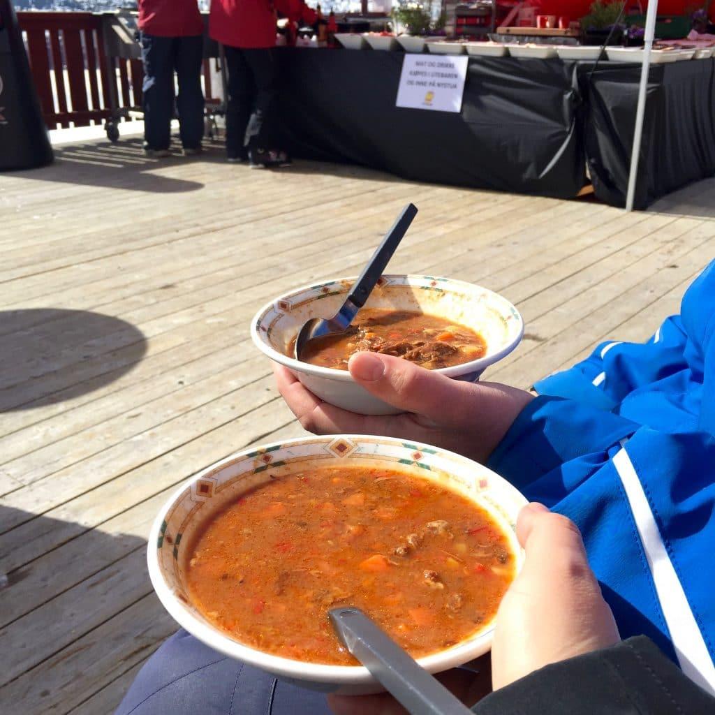 soep eten op piste Skien in Noorwegen - Skeikampen (Svingvoll) made by ellen
