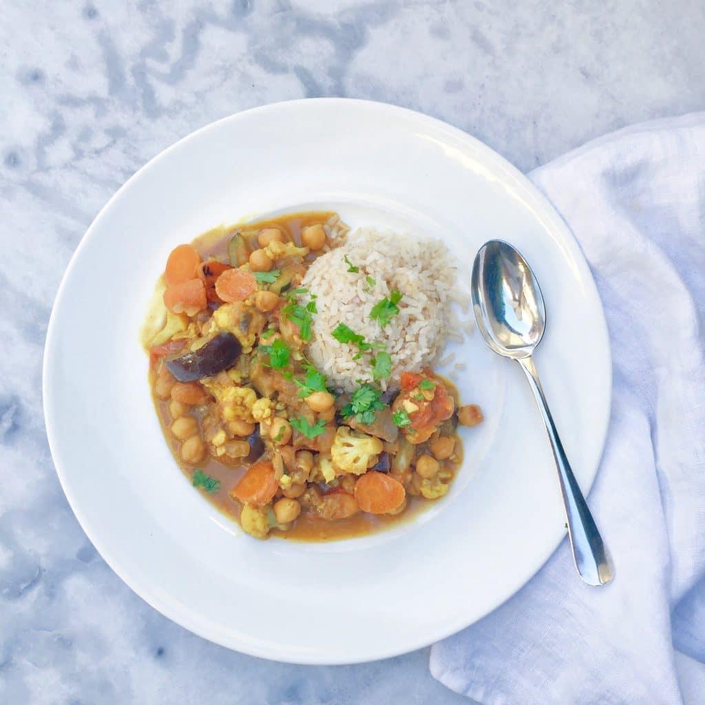 Milde curry met bloemkool, ras el hanout & kokosmelk