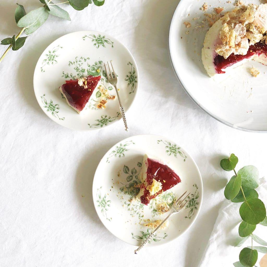 Yoghurt panna cotta met cranberry & pistache koekjes, made by ellen