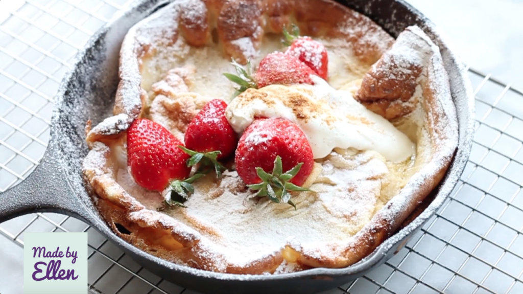 Dutch baby pancake recept met aardbeien + video