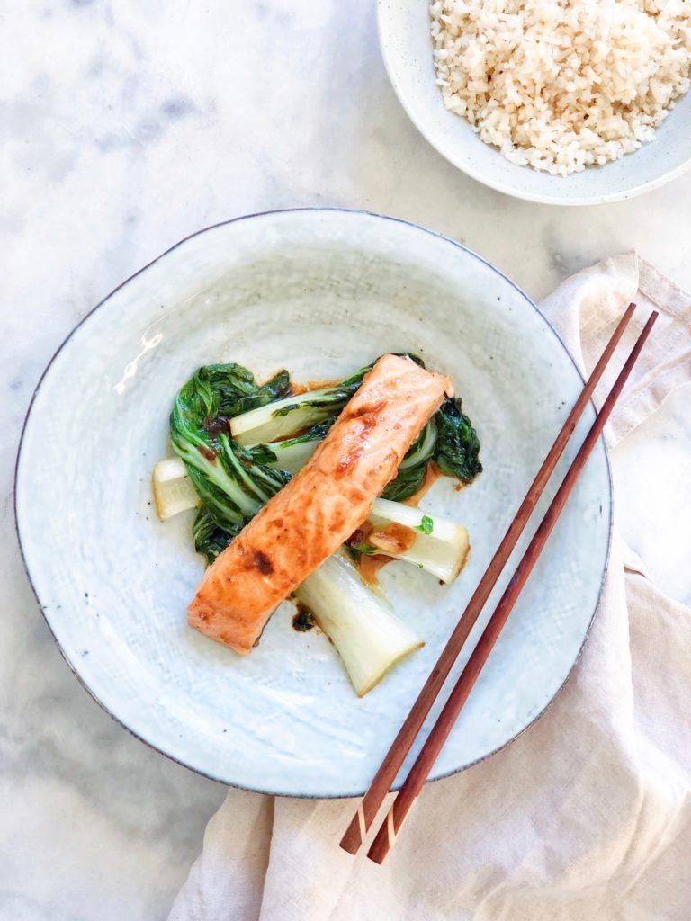 Zalm stomen met paksoi groenten