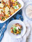 Ovengroente met kipdij, citroen en feta recept