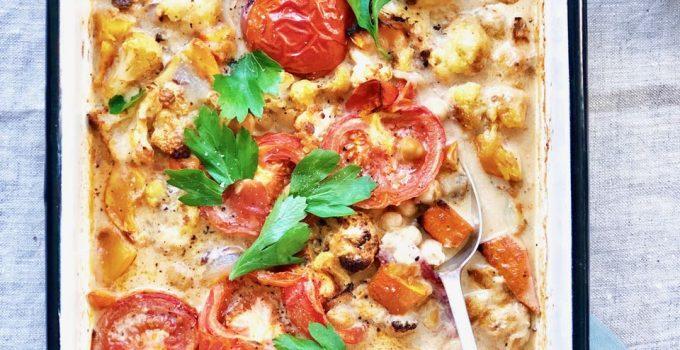 Bloemkool curry met pompoen (mét schil) & kerrie uit oven