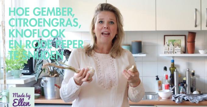 Hoe snijden knoflook, gember, citroengras en rode peper