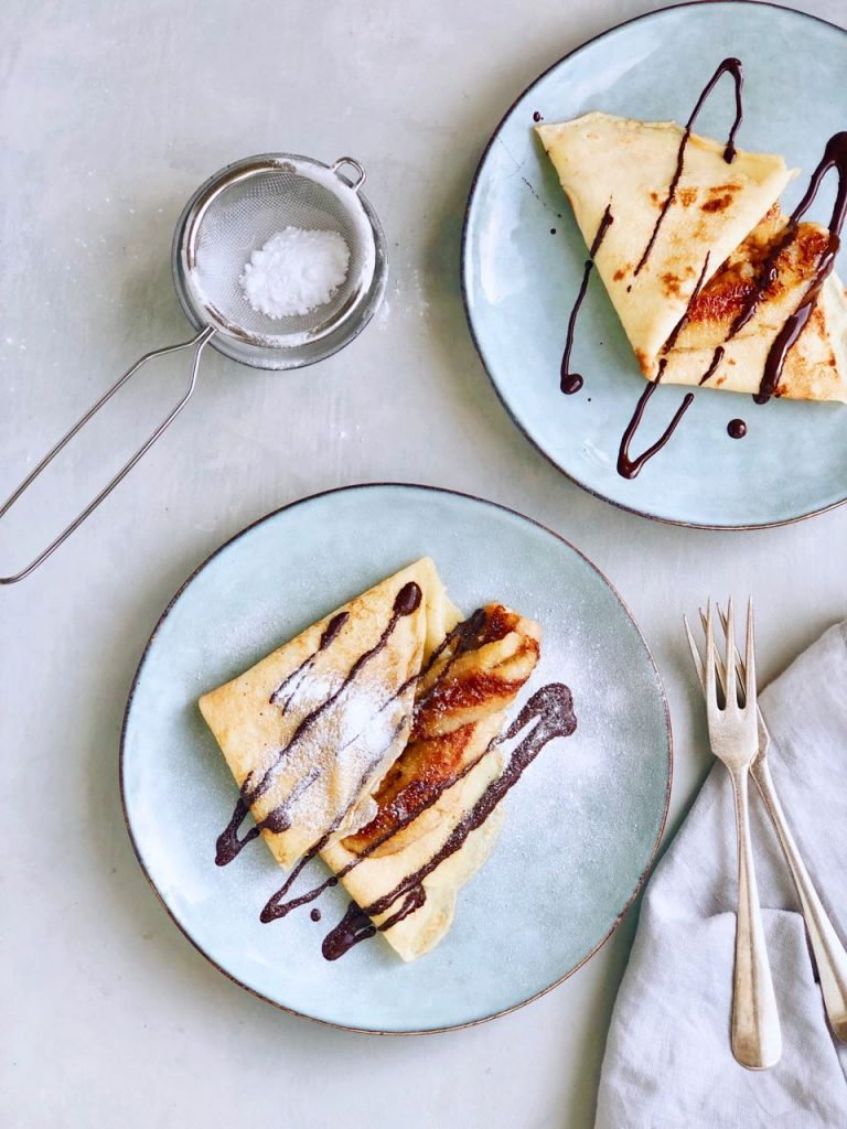 Flensjes maken met banaan en chocolade, made by ellen