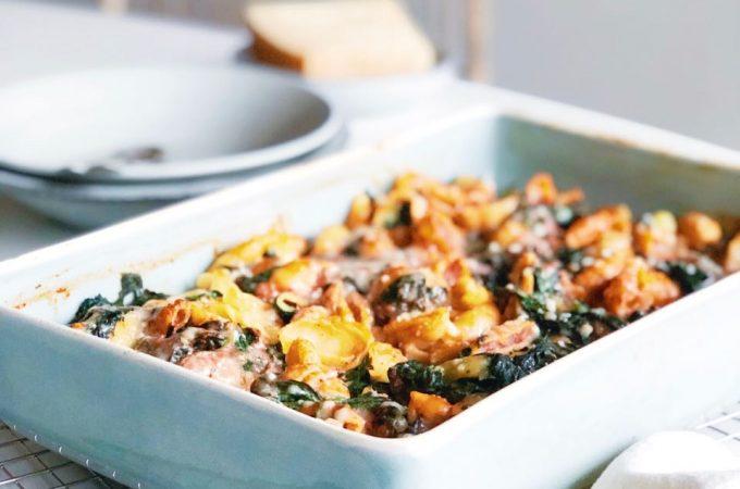 Schelpjespasta met spinazie