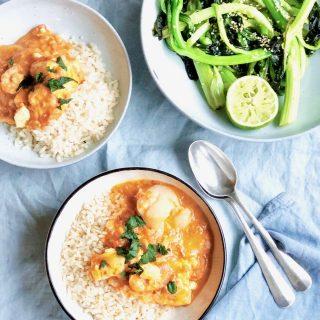 Viscurry met rijst en choisam