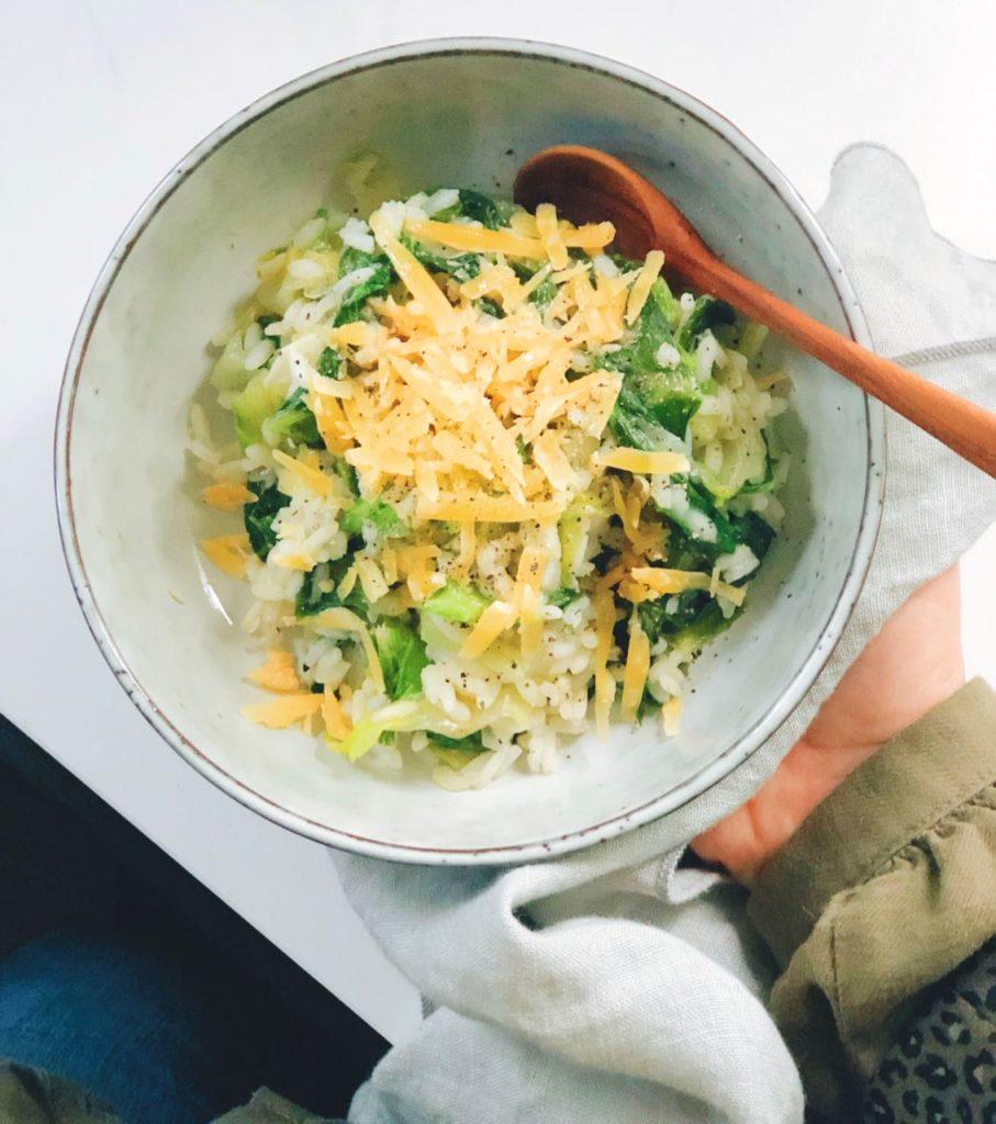 Makkelijke risotto met sla en Hollandse oude kaas