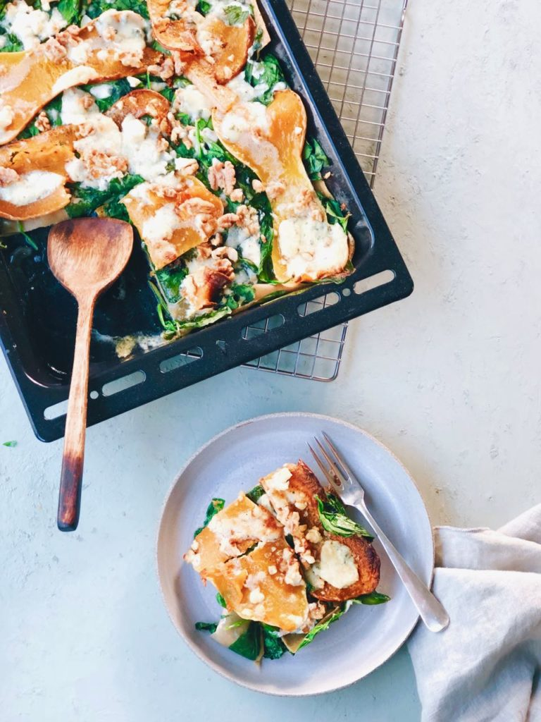 Pompoen lasagne met spinazie en nootmuskaat