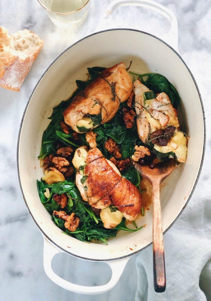 Recept voor gevulde kipfilet met spinazie, brie en honing