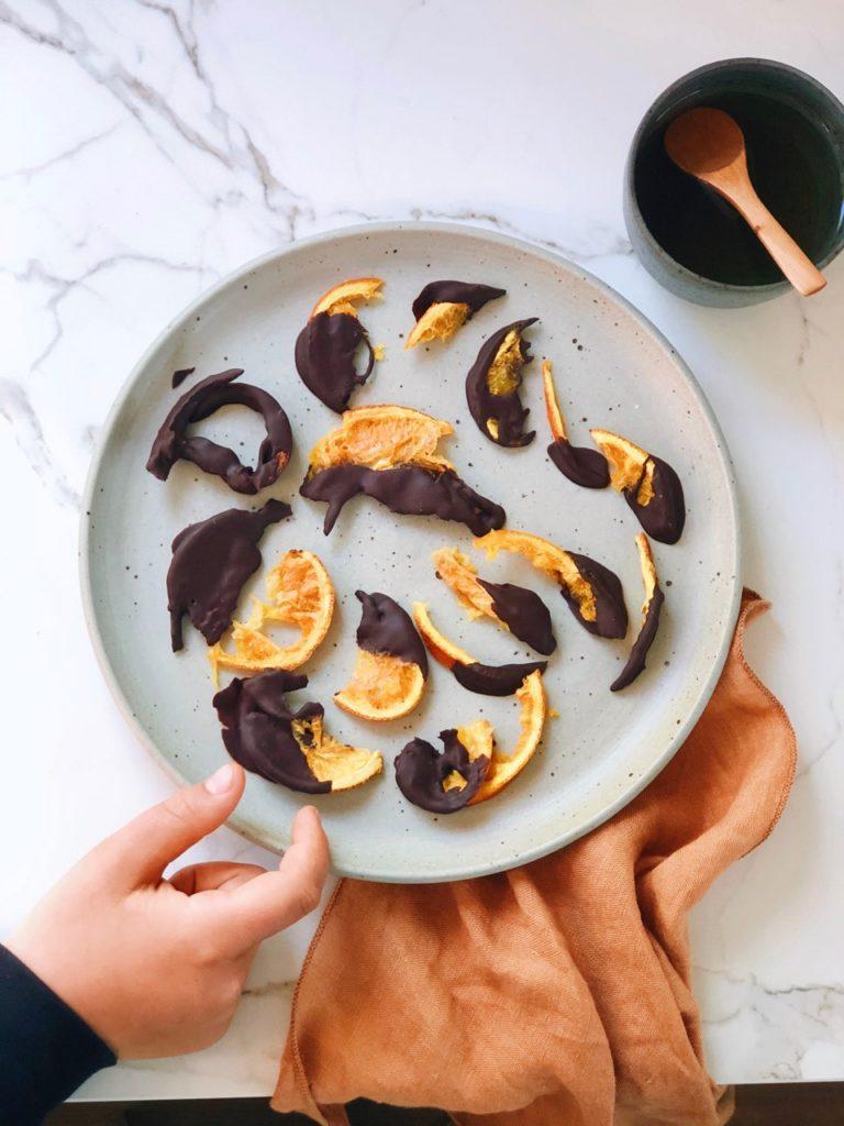 Recept gedroogde sinaasappelschijfjes met chocolade