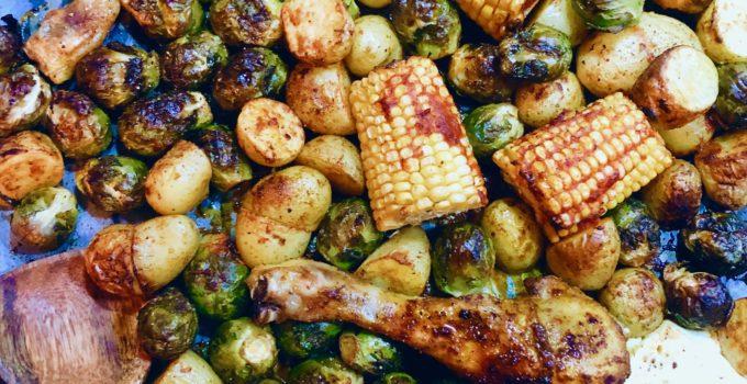 Traybake met kip, feta, mais en aardappelen