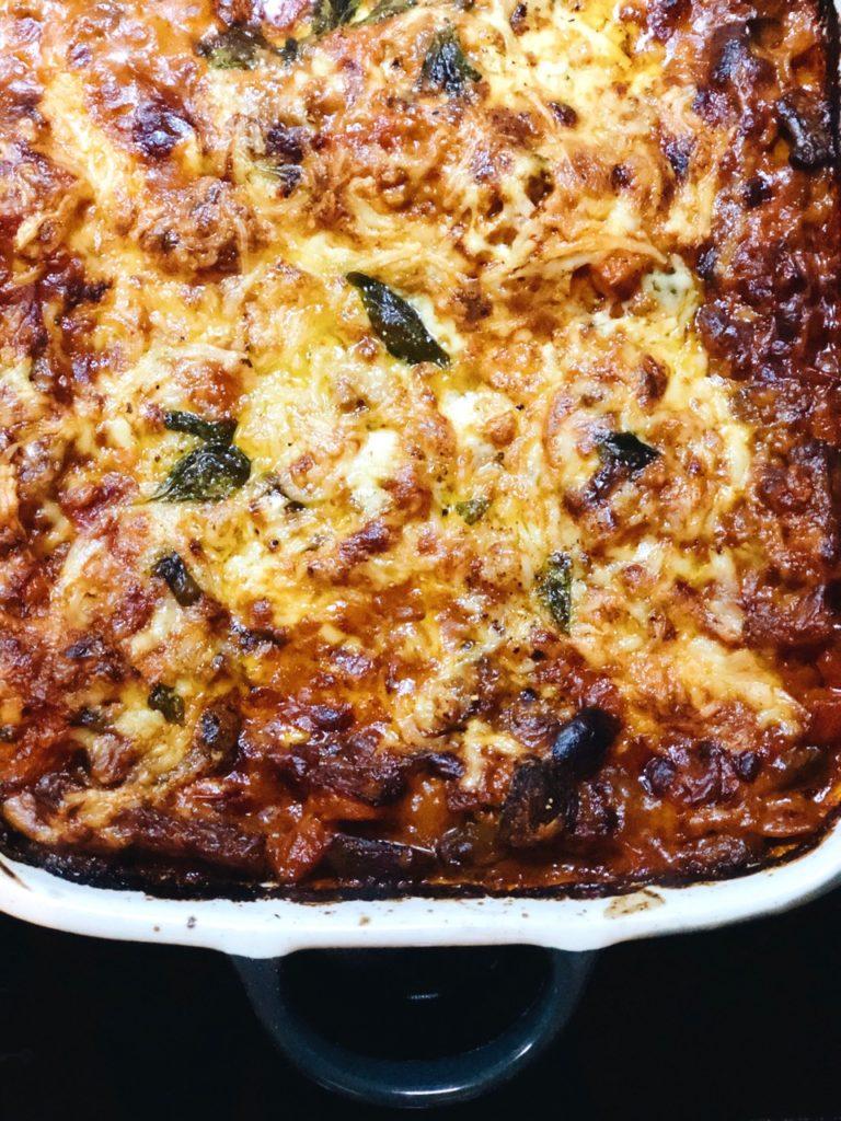 Romige paddenstoelen lasagne