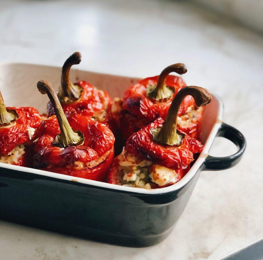 Gevulde paprika met paella rijst